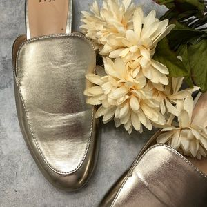 A.N.D. Gold Slip On Mules Size 9.5